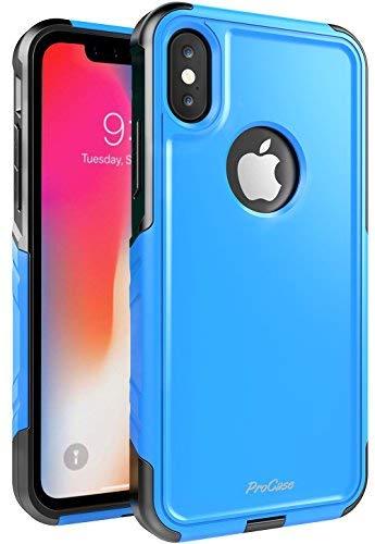 ProCase Schuzhülle für iPhone XS/X, Stoßfest Full-Body Robustes Case Heavy Duty Rundum Schutzhülle Cover mit eingebautem Displayschutz für Apple iPhone XS (2018) / X(2017) - Blau -