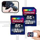 Transcend 64GB High Speed Class 10 Memory Card KIT (2 x 32GB Memory Cards) for Nikon D7200, D7100, D7000, D750, D810, D810A, D800, D800E, D5500, D5300, D5200, D5100, D3300, D3200, D3100, D610, D600, D4, D4s, D3, D3X, D3S, D30