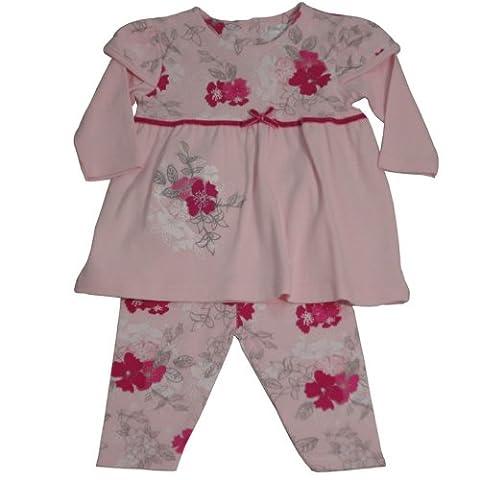 Baby Girls 2 Piece Set, Cotton Flower Print Dress 6-12 (3 Pezzi Bambino Outfit)