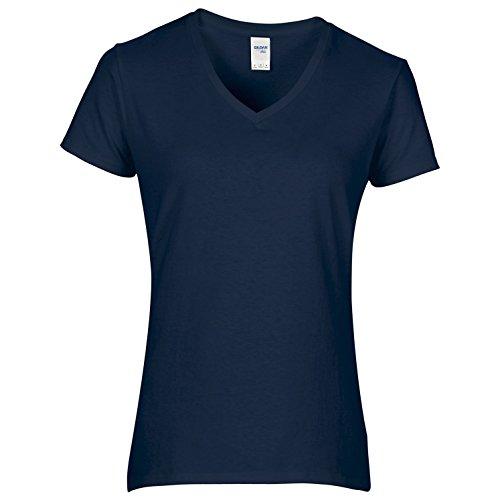 Gildan - T-shirt à manches courtes et col en V - Femme Blanc