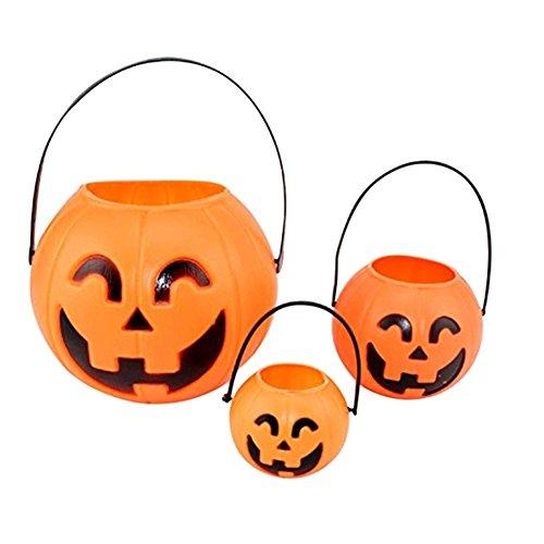 LAAT Halloween Kürbis Eimer Kunststoff Kürbis Fass Mini Trick-or-treat Halloween Süßigkeiten Jar Dekorative Requisiten - Kunststoff Kürbis Eimer Halloween