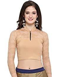 de95451e8b19a Janasya Women s Cotton Lycra Stretchable Readymade Blouse (Black)