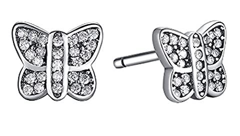SaySure- 925 Sterling Silver Sparkling Butterfly Stud Earrings