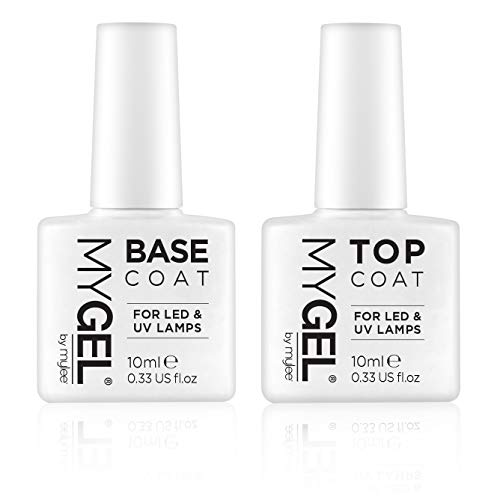 MYGEL by Mylee Nail Gel Polish Top & Base Coat 2x10ml UV/LED Soak-Off Nail Art Manicure Pedicure for Salon & Home Use - Lasts up to 2 Weeks, Easy to Apply, No Chips, Durable & Safe