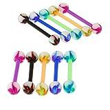 10 Stück Packung UV-Turbine Ball mit 16MM Länge - 14 Gauge Bioplast Flexible Straight Barbell Zunge Bar Piercing