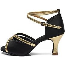 HROYL Zapatos de baile/Zapatos latinos de satén mujeres ES7-F25