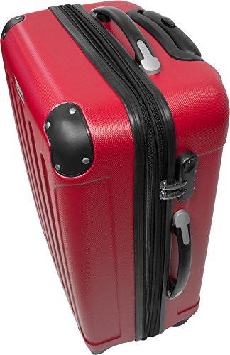 Handgepäck / Hartschalen Koffer bunt mit Motiv und 4 Rollen Classic Rot