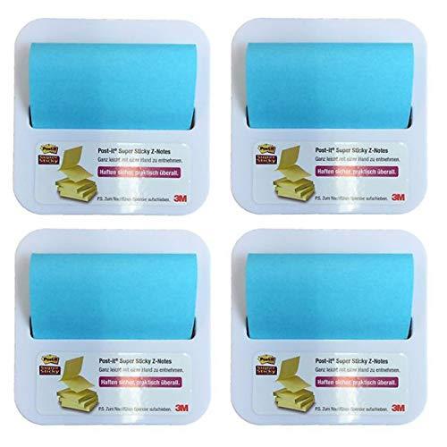 Post-It - Dispensador de Notas postizas (3 mm, 6 x 76 mm, 4 Unidades), Color Azul