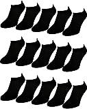 12 bis 60 Damen Herren Sneaker Socken Sport Füßlinge Baumwolle Schwarz Weiß trendige Farben 35-38 ; 39-42 ; 43-46 (35-38, Schwarz 12 Paar)