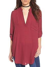 528d6e5454c24 Blusas de Vestir Manga Larga Cuello EN V Blusa Gasa Fiesta Camisas Mujer  Camisetas Largas Elegantes