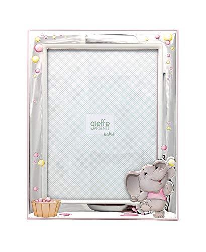 Cornice neonato | elefantino | legno, argento bilamina | gieffe (13x18 cm rosa)