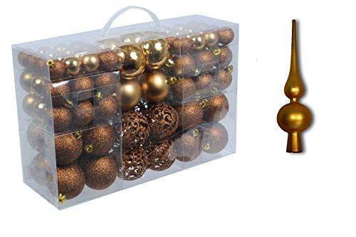Set 101 Teile Weihnachtskugeln braun bronze glänzend glitzernd matt Christbaumschmuck bis Ø 6 cm Baumschmuck Weihnachten Deko Anhänger und Weihnachtsbaum-Spitze (Braun Weihnachtskugeln)