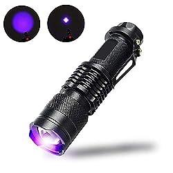 LIANA IRWIN Wasserdicht UV Taschenlampe,LED 395nm/LED365nm Vielseitige Leuchtstofflampen-Detektion Lampe, geeignet für die Urinuntersuchung von Haustieren, Jade-Identifikation Usw (Lila Licht (395nm))