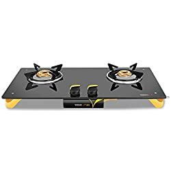 Vidiem Glass 2 Burner Gas Stove, Black (VDM_AIR ORO 2 B_BLK)