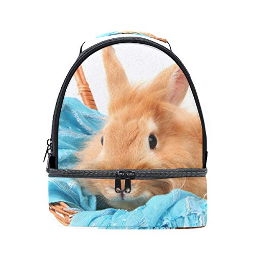 Bolso de almuerzo doble para el hombro, conejo en cesta con bufanda...