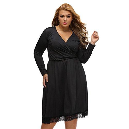 PU&PU Femmes Plus Size Formal / Travail / Soirée Lace V Neck Une ligne de robe, à manches longues haute taille Black