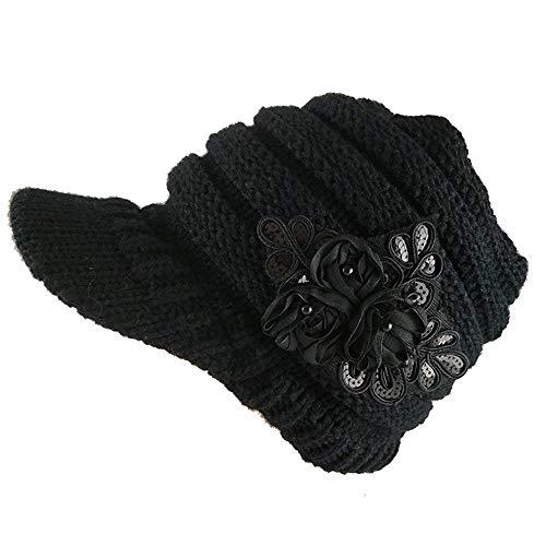 CHOULI Knitted Hat Women Winter Hats for Women Ladies CAPS Bonnet Warm Knitting Hat Black (Womens Hats Warm)