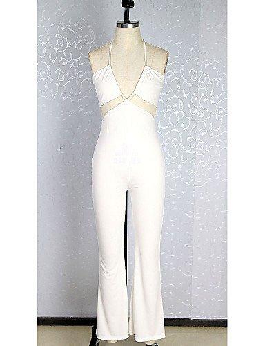 GSP-Combinaisons Aux femmes Sans Manches Sexy / Soirée Spandex Moyen Micro-élastique white-s