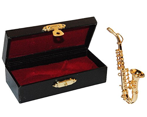 2 tlg. Set Saxophon mit Kasten - Metall Miniatur - Maßstab 1:12 - Puppenstube Musikinstrument Instrument - Instrumente