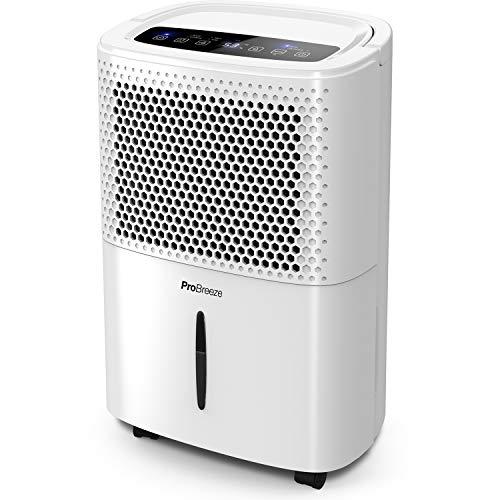 Pro Breeze Deshumidificador 12L, Pantalla Digital, Drenaje Continuo, Portátil con 4 Modos de Uso, Temporizador y Secadora de Ropa