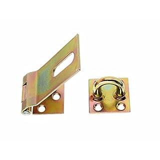 GAH-Alberts 348359 Sicherheits-Überfalle, galvanisch gelb verzinkt, Plattengröße: 37 x 38 mm / Länge Überfalle: 85 mm