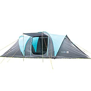 skandika hammerfest 6 person men group & family tunnel tent with/without sewn-in-groundsheet & 2 sun canopy porch - 2 sleeping pods - water resistant material with 2000 mm water column & a repair kit