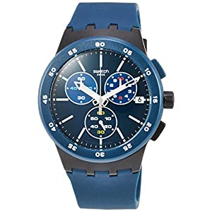Swatch Unisex Adult Chronograph Quartz Watch with Silicone Strap SUSB417