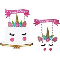 Cake Topper de Unicornio Toymio Hecho a Mano Feliz Cumpleaños DIY Linda Unicornio Cuerno, Orejas y Pestañas Decoraciones para Cumpleaños Unicorn Party Decoration