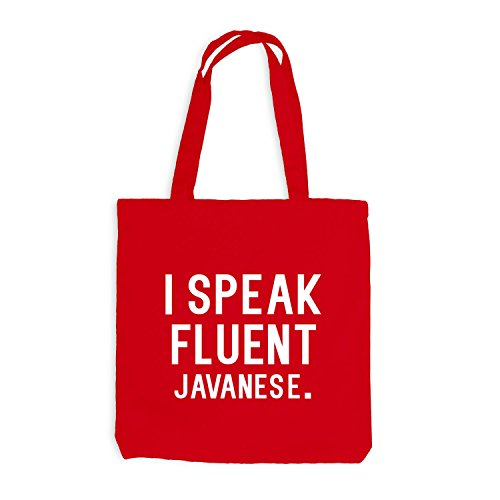 Jutebeutel - I speak fluent Javanese - Sprache Rot