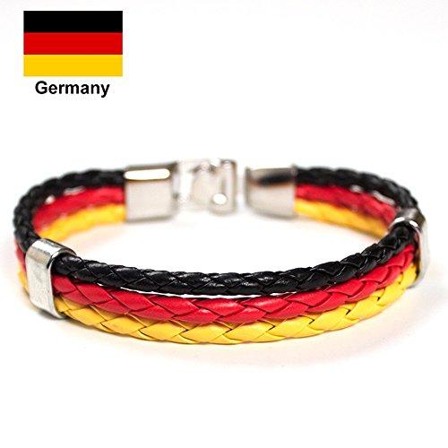 Unisex-Armband, Flaggen-Design, Legierung, Leder-Armband, für Fußballfans, 22 cm (8,66 Zoll), deutschland