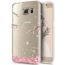Funda para Galaxy S6 Edge Plus, ikasus [Flor de cerezo rosa] cristal transparente ultrafino con en de funda de goma cobertura suave de silicona transparente TPU para Samsung Galaxy S6 Edge Plus, branches Sakura