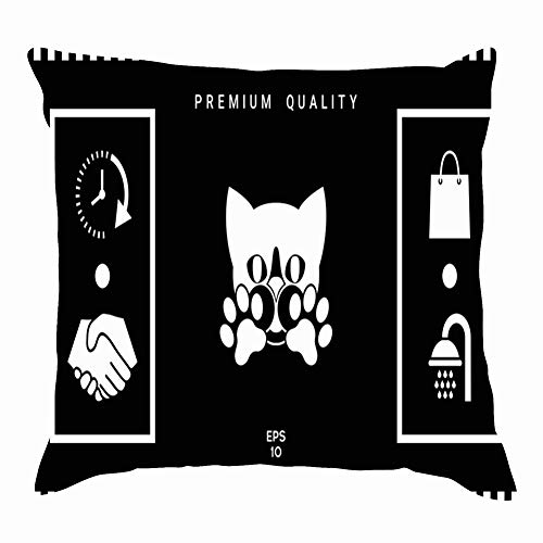 tuyi Cute cat Paws Symbol Protect Animals Wildlife Animal Signs Symbols Throw Pillow Covers Cotton Linen Cushion Cover Cases Pillowcases Sofa Home Decor 18