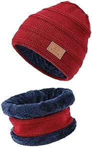 TAGVO Cappellino Invernale Beanie Sciarpa Set Fodera Interna in Pile Caldo, Elastico in Maglia Beanie cap Scal