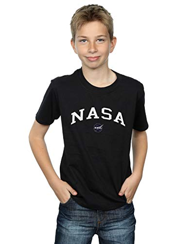Absolute Cult NASA Niños Collegiate Logo Camiseta Negro 12-13 Years