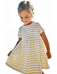 3bef0dab93ac6 ADESHOP Mode Fille Robe Enfant Princesse Filles Robe RayéE D éTé à Manches  Courtes Robe VêTements Filles Casual LâChe Col Rond…