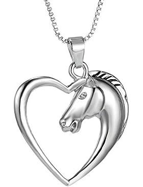 Halskette Silber Herz Pferd Schmuck Pferdekopf Mädchen Kinder Kette Silberkette