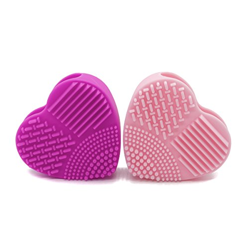 2-pcs-cleaning-tool-set-heart-shaped-silicone-multi-texture-surface-makeup-brush-cleaner