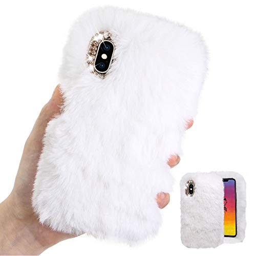 Weich Plüsch Hülle für iPhone XR,Weiß Silikon Hülle für iPhone XR,Moiky Luxus Diamant Warme Hase Pelz Winter Flauschige Rabbit Pelz Soft TPU Handyhülle