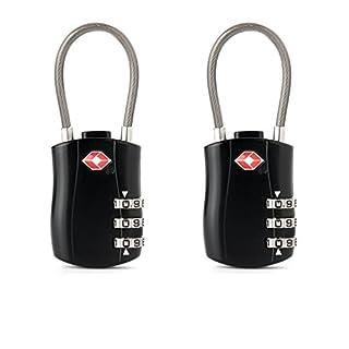 2 Stücke TSA-Gepäckschlösser, Jr.Hagrid TSA akzeptiert Reiseschloss,Kabelschloss, Kofferschloss Zahlenschloss mit 3-stelligen Zahlencode, Schwarz Zahlenschloss Travel Lock