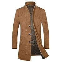 APTRO Mens Wool Coats Winter Jacket Warm Casual Overcoat Long Business Outwear Trench Coat 1681 Camel M