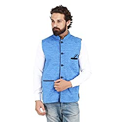 PSK Mens Cotton Blend Nehru and Modi Blue Jacket Ethnic Style For Party Wear Size-40