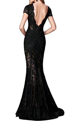 ivyd ressing Femme Haute Qualité V de la découpe rueckenfrei courte robe dentelle Prom Party manches Robe Robe du soir Schwarz