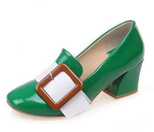 Chaussures Verni Vert Femme Tire VogueZone009 Légeres Carré Mélangées Couleurs PqOngAFwT