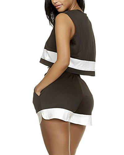 Auxo Eté Sportswears Femme Survêtements Sexy Crops Tops + Shorts Casual Ensembles de Sports Noir