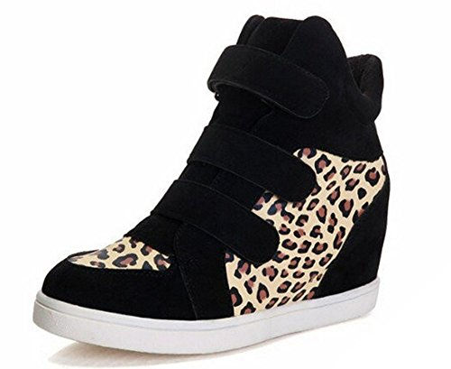 Compensées Sneakers Femme Padgene Nylon Jaune Baskets Léopard Hautes OP5dgnqwx