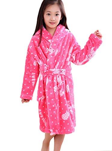 47018dabb6f21 XINNE Enfants Peignoir de Bain à Capuche Flanelle Robe de Chambre Fille  Garçon Automne Hiver Pyjama Vêtement de Nuit Taille M Rose