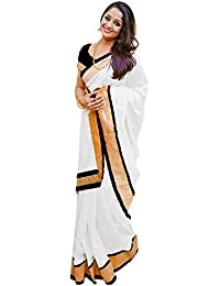 Onlinehub Women's Sarees Cotton Silk Material Sarees For Women With 1 Blouse Piece(White Cotton Silk)