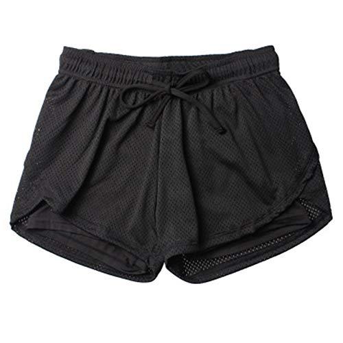 Kordelzug Laufhosen (VCB Mode Frauen Yoga Shorts Quick Dry Lose Beiläufige Kordelzug Laufhose - schwarz (XXL))