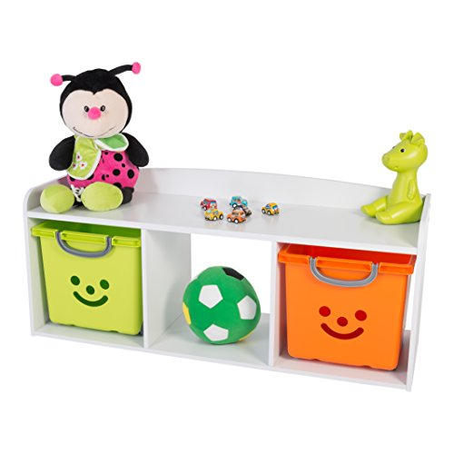 IRIS, Kindersitzbank 'Kids Bench' mit Stauraum / Aufbewahrung, Holz, weiß, 101,4 x 34 x 43,4 cm