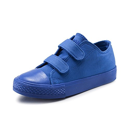 Daclay Children Canvas Shoes Candy Color Velcro Casual Boy and Girl Child Low-Cut White Walking Running Shoes